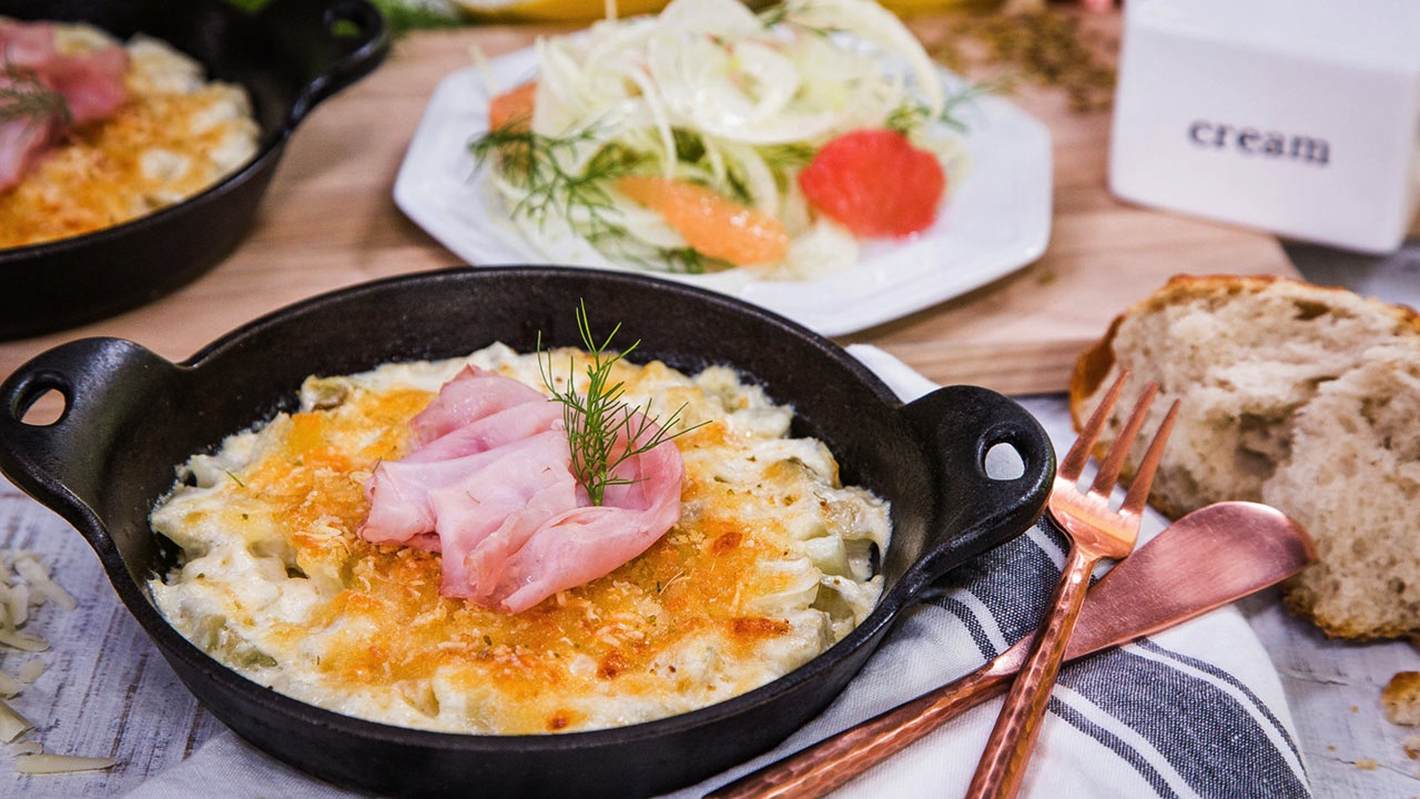 Roasted Baby Fennel Gratin Recipe With French Ham and Shaved Fennel Salad