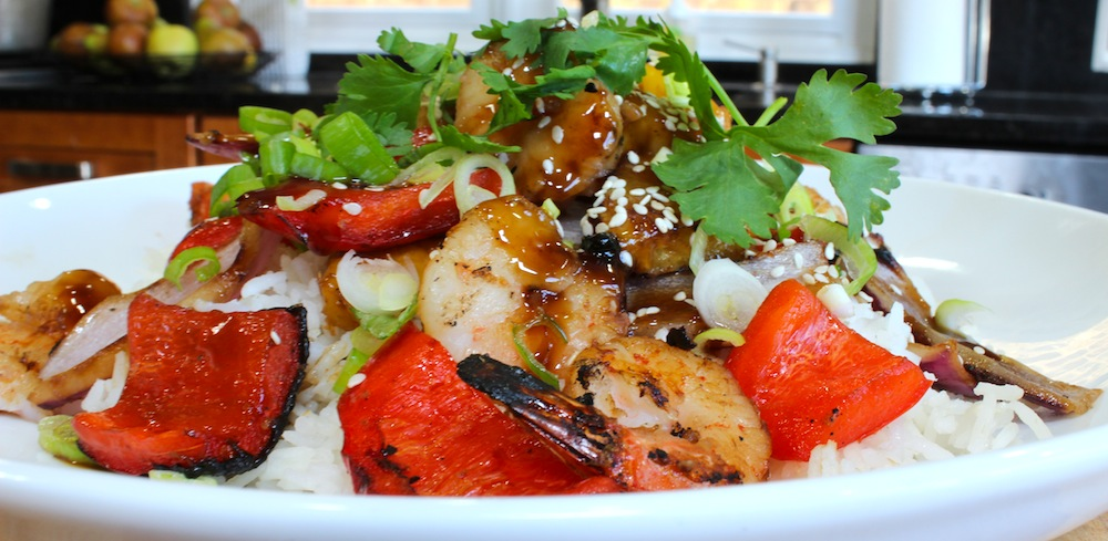 How to Make Teriyaki Grilled Shrimp and Roasted Peppers