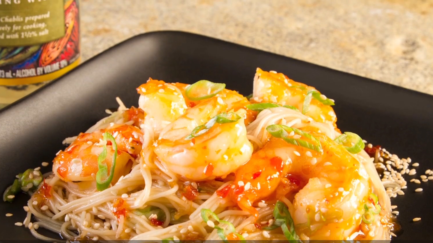 90 Second Asian Chili Shrimp Recipe With Sesame Noodles