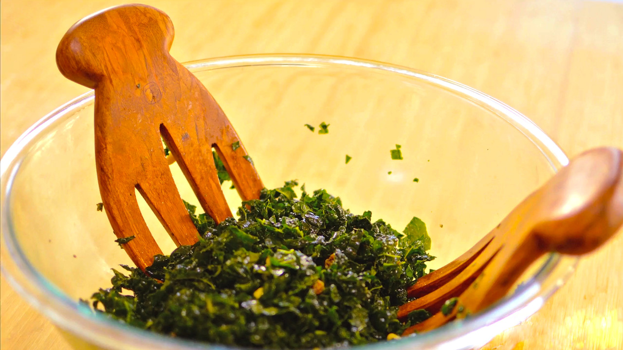 How to Make Mediterranean Kale Salad with Golden Raisins and Pine Nuts
