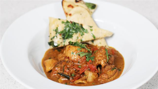 One Pot Chicken Curry with Garlic Herb Naan Breads