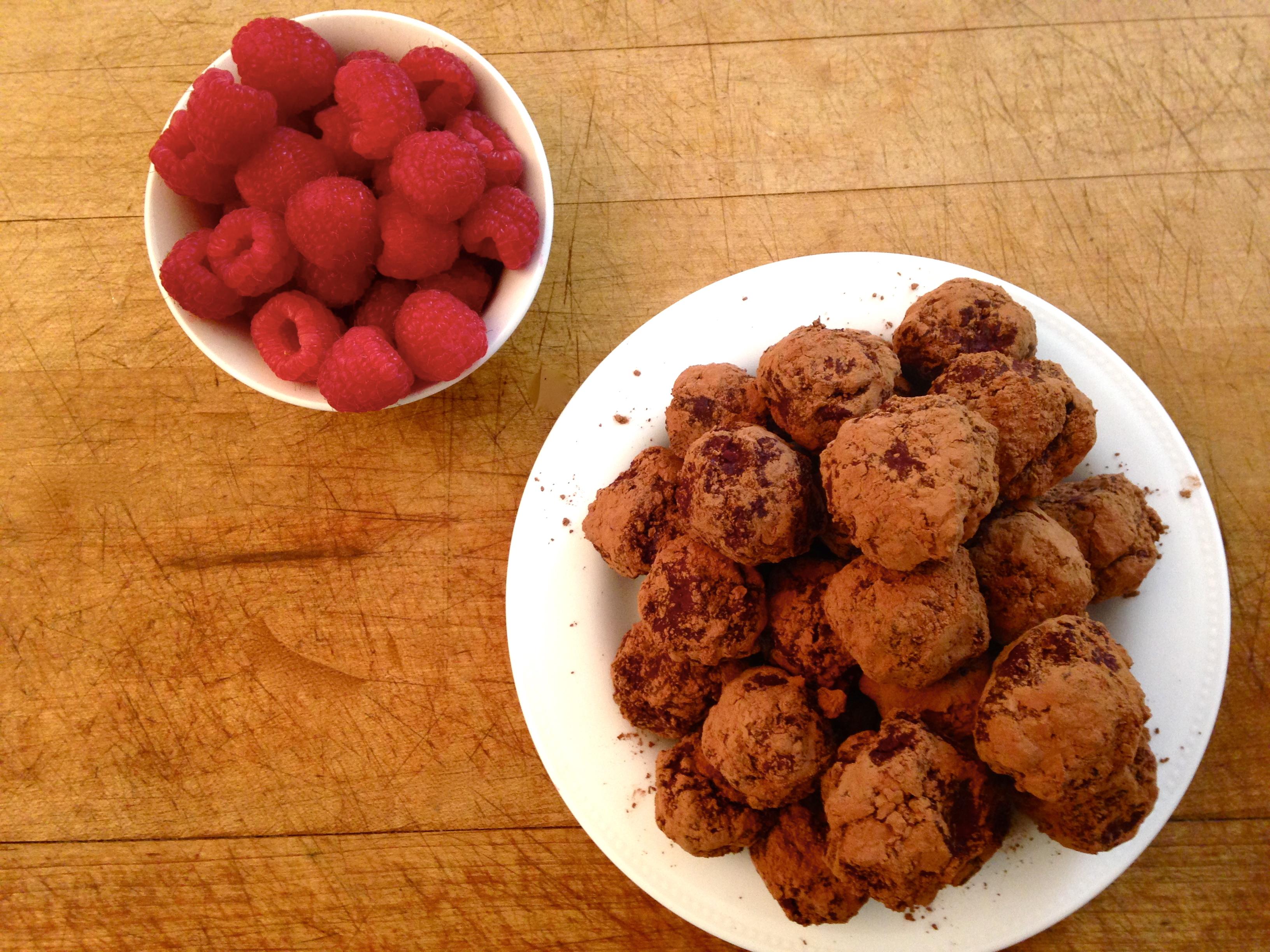 Easy Dark Chocolate and Raspberry Truffles