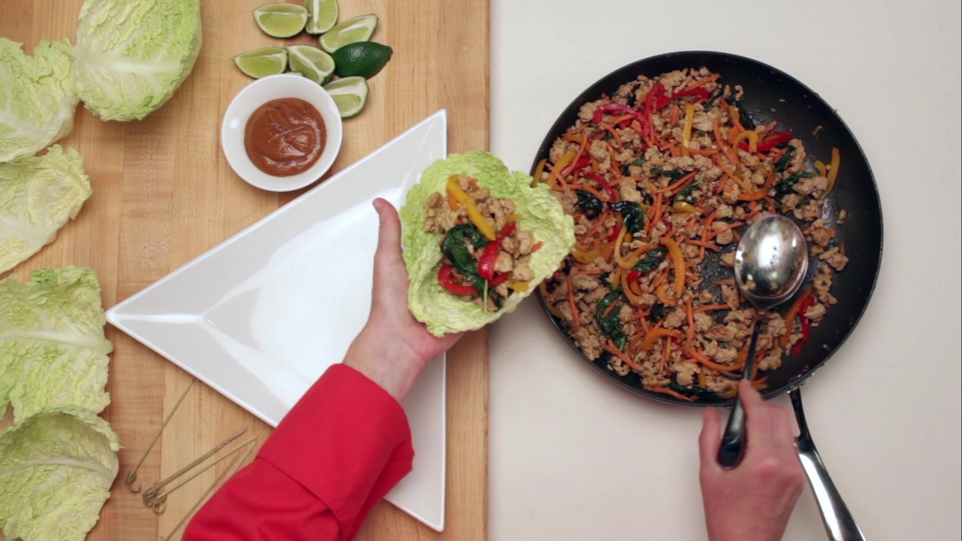 90 Second Thai Basil Chicken Wrap Recipe