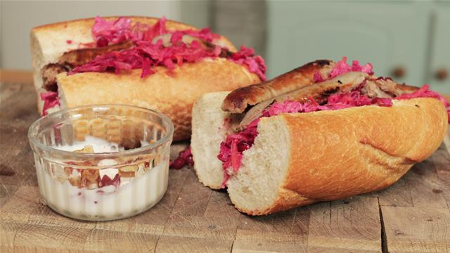 Sausage and Winter Slaw Sandwich Recipe