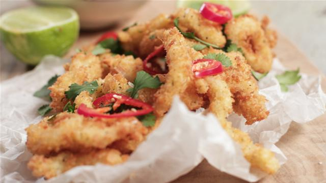 How to Make Crispy Lemongrass Squid With Red Thai Curry Mayonnaise
