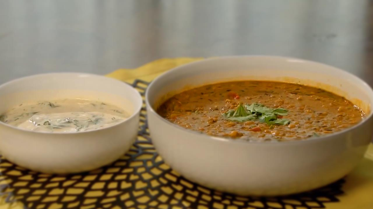 How to Make a Bengal Tiger Lentil Curry and Spinach Raita