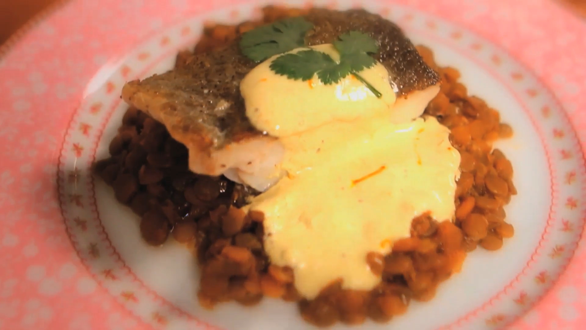 Curried Lentils with Pan Seared Cod