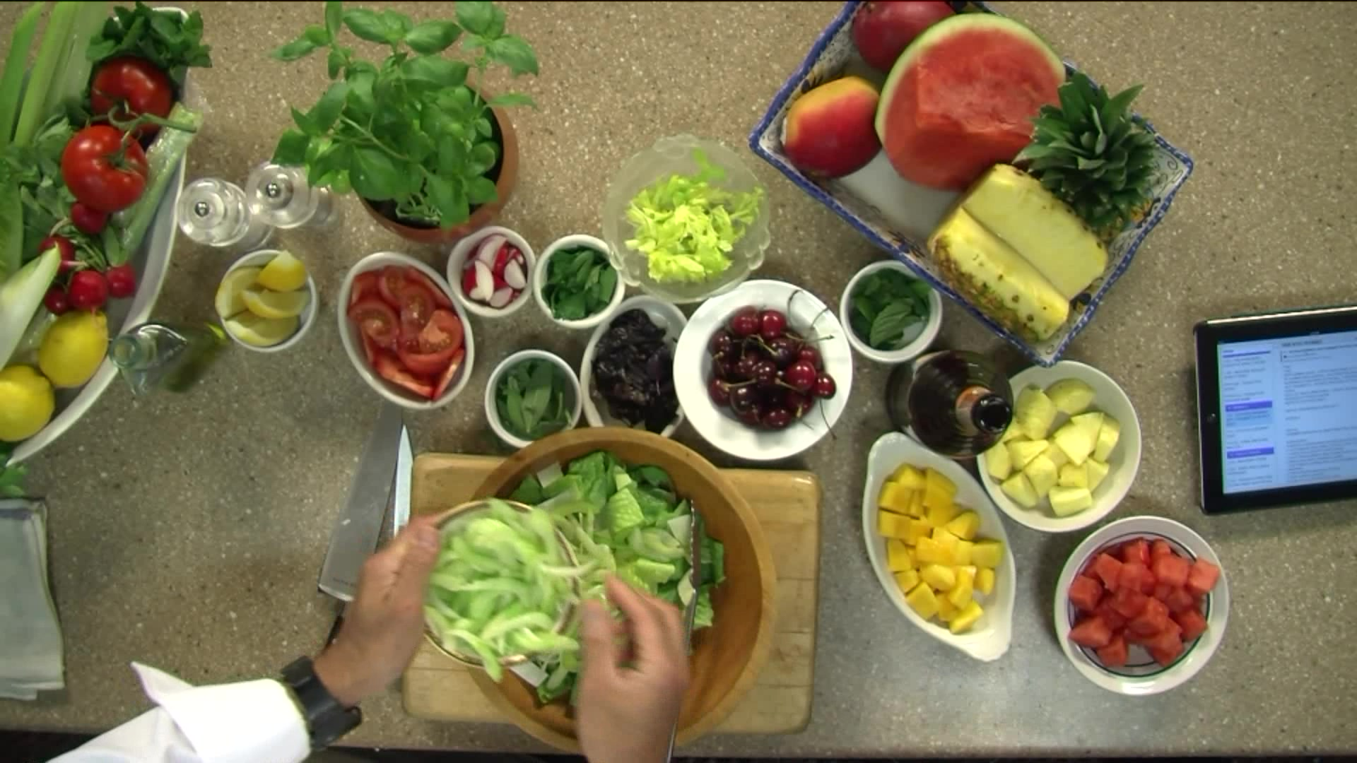 How to Make a Summer Green Salad and a Fresh Fruit Salad