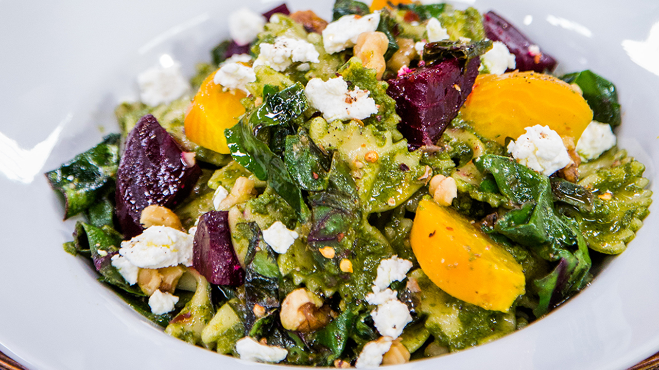 How to Make Roasted Beet and Walnut Pesto Over Farfalle