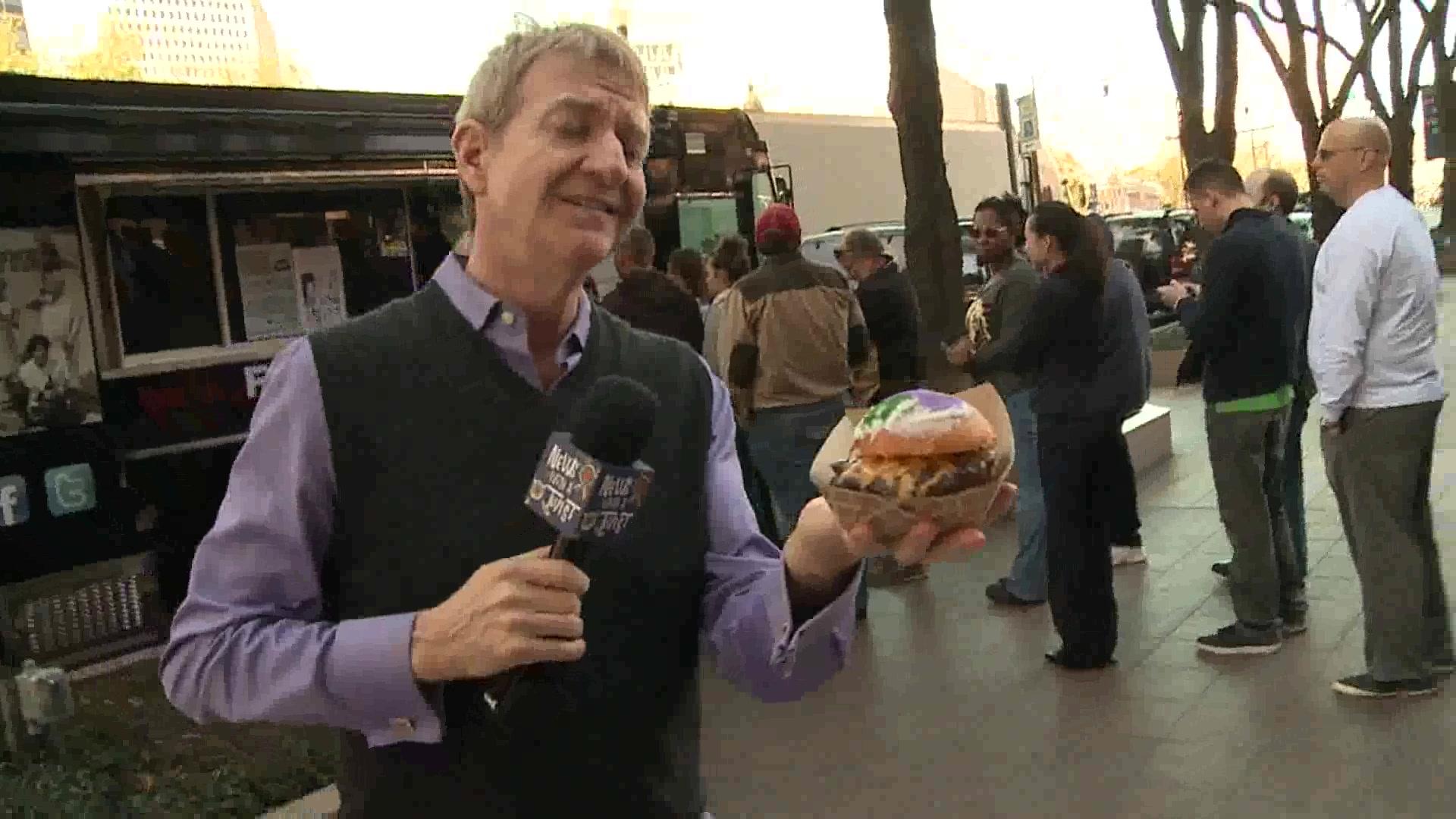Celebrate Mardi Gras with a King Cake Burger