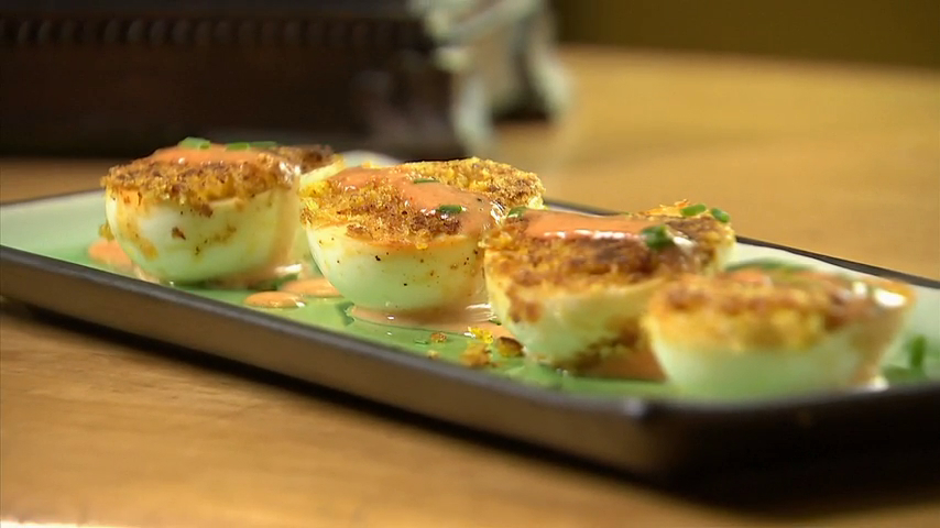 Crispy Deviled Eggs With a Spicy Hollandaise Sauce Recipe