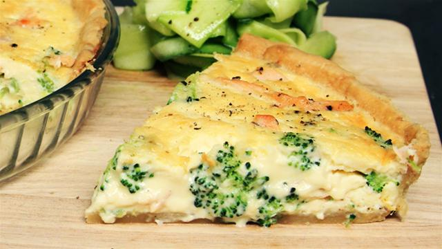 How to Make a Homemade Broccoli and Salmon Quiche
