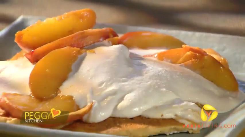 Gluten-Free Cornmeal Pancakes Recipe With Peach Topping