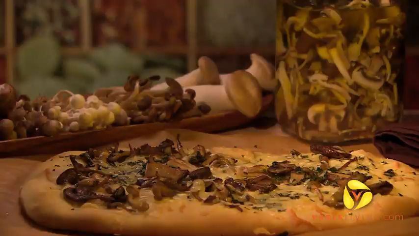 Pizza With Pickled Mushrooms and Gruyere
