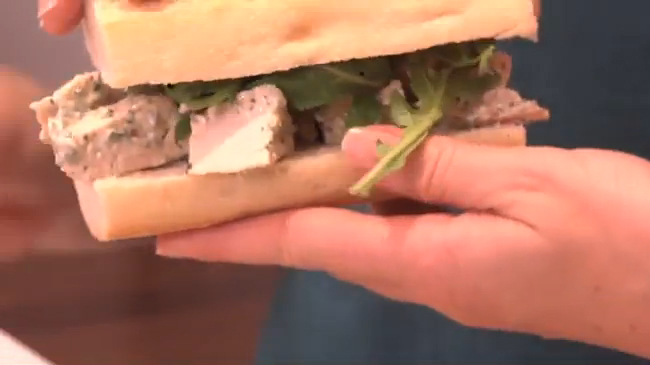 How to Make a Healthy Chicken Salad Sandwich with Pesto