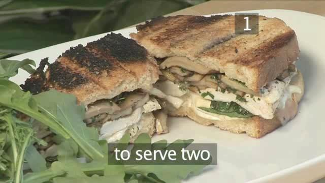 How to Cook Barbecue Chicken, Mushroom and Goat's Cheese Sandwich