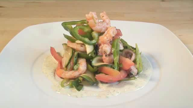 How to Prepare Cold Seafood and Herbed Tahini Salad