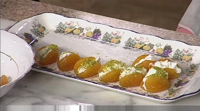 Poached Apricots Filled with Yogurt