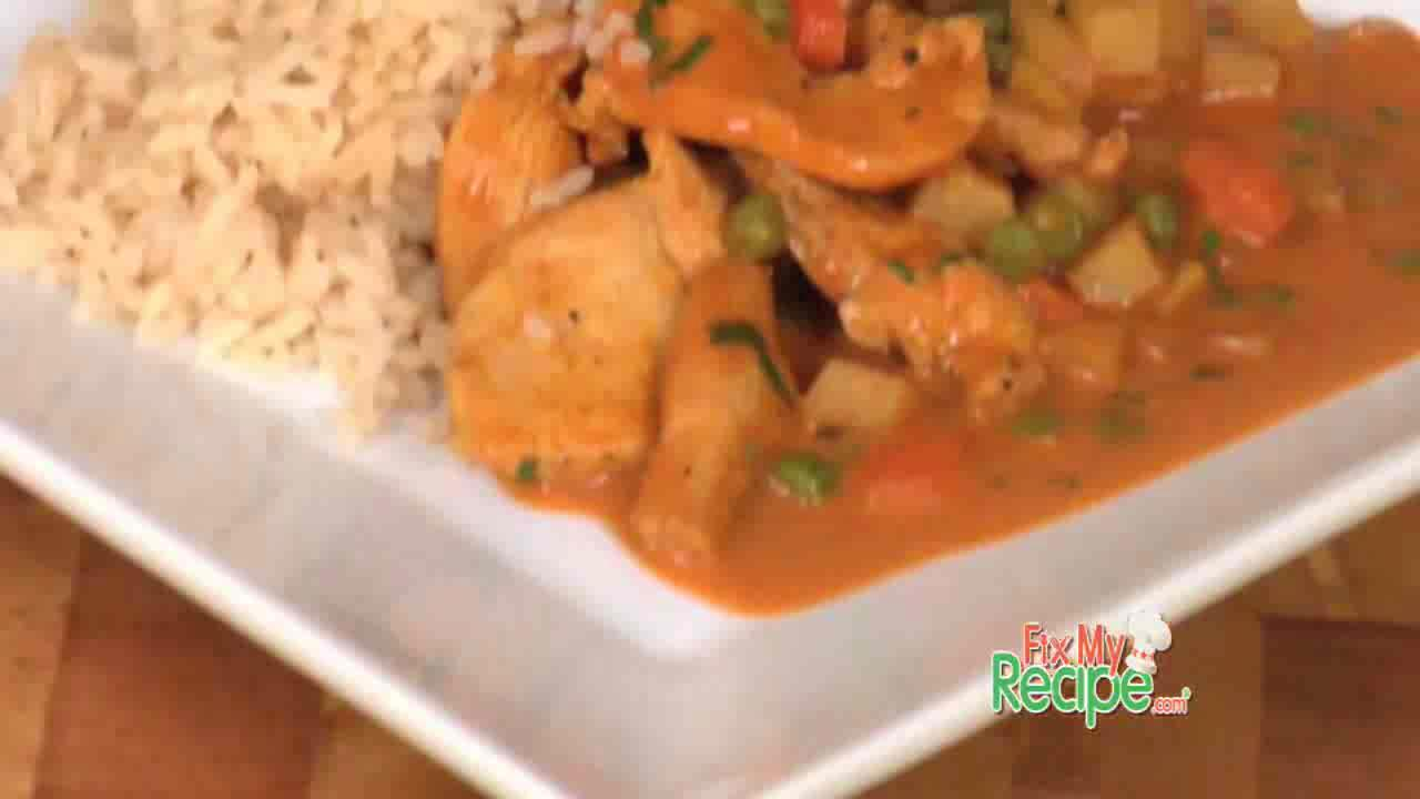 How to make Curry Chicken with Fresh Vegetables and Rice
