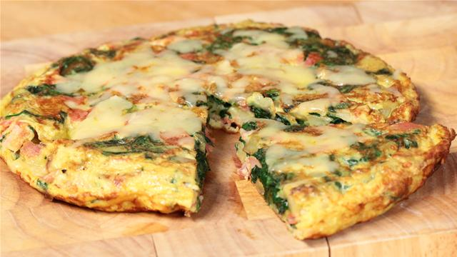 Ham and Spinach Spanish Omelette Recipe