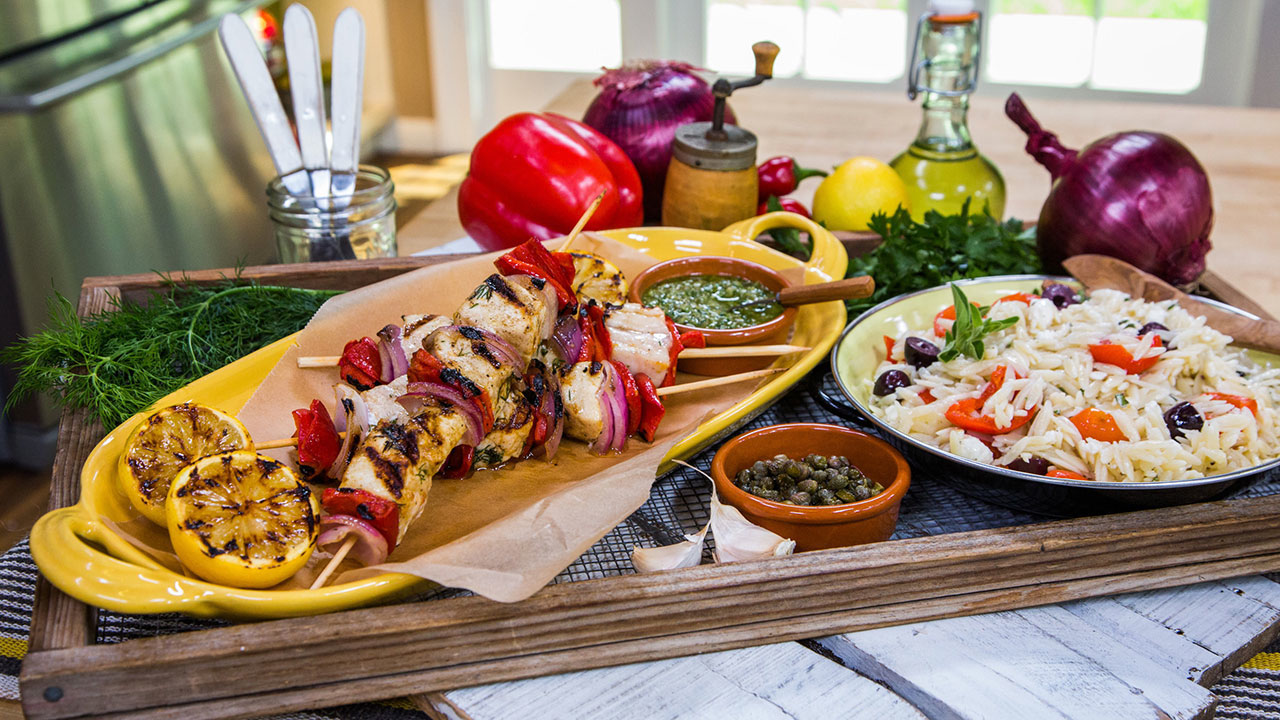 Swordfish Kebabs With Red Onion, Roasted Peppers and Parsley Caper Sauce