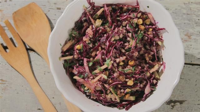 How to Make Spelt Salad With Red Cabbage and Hazelnuts