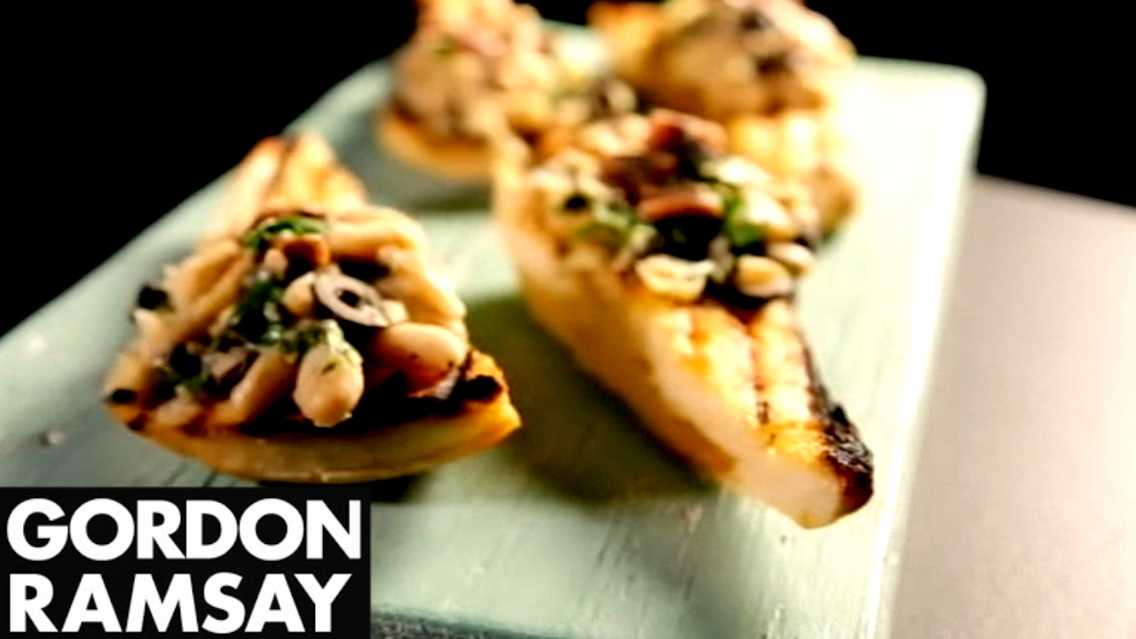 How to Make Canellini Bean Crostini With Anchovy and Olive - Gordon Ramsay