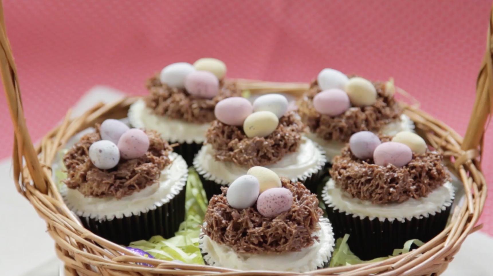 How to Make Hidden Centre Easter Egg Nest Cupcakes