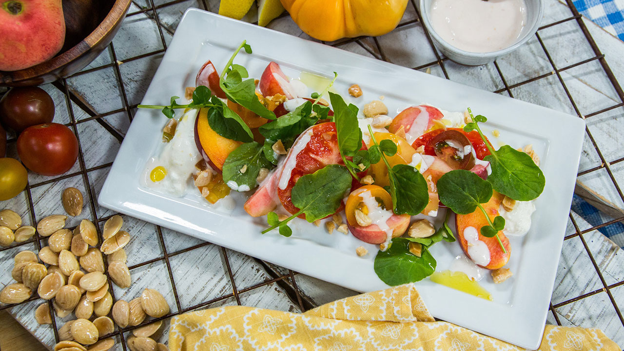How to Make a Tomato, Peach and Burrata Salad With Smoked Marcona Almonds