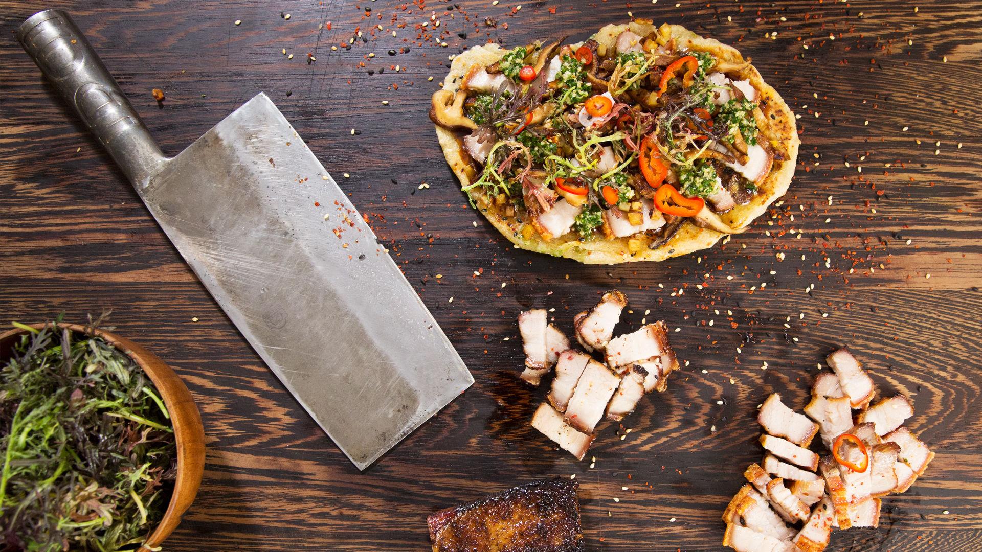 Home 45e2 made BBQ Pork Belly Pizza Recipe