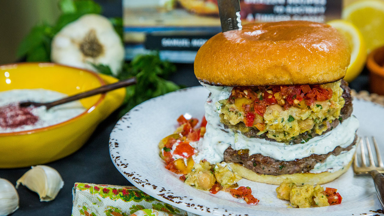 Lamb Burger with Garbanzo Bean Mash, Lebne Spread and Tomato Salsa Recipe