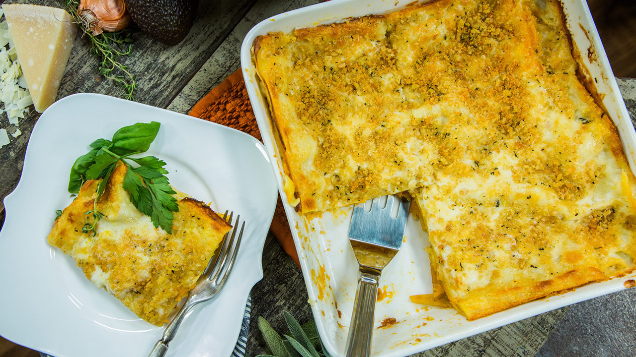 Butternut Squash Lasagna Recipe With Grapefruit Salad