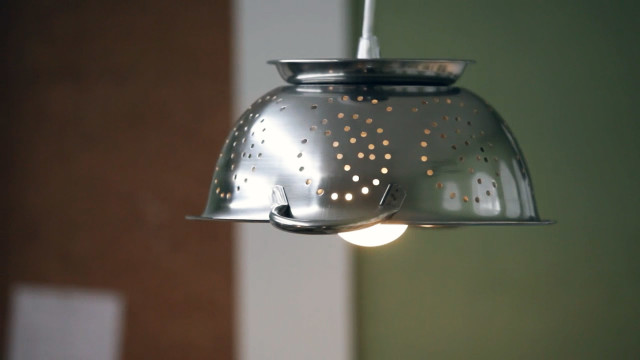 Make a Hanging Colander Lamp for Your Kitchen