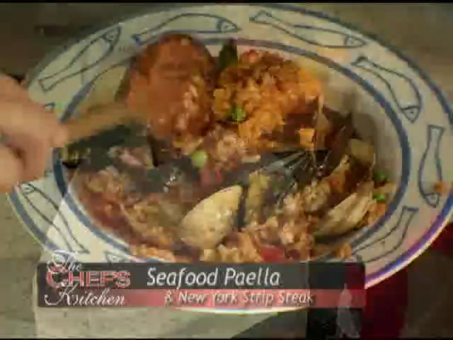 Seafood Paella and New York Strip Steak Recipe