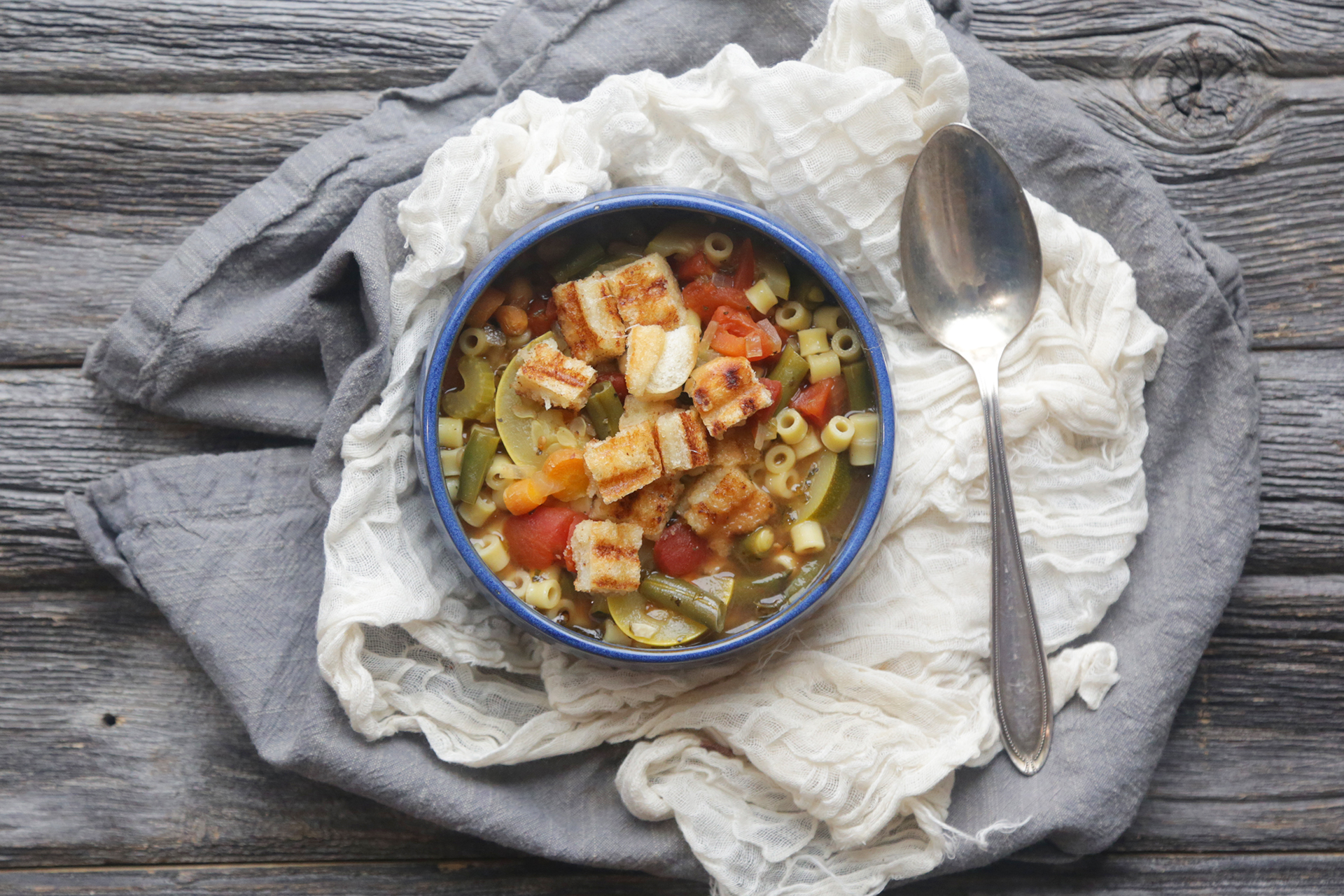 Vegetable Minestrone with Grilled Cheese Croutons