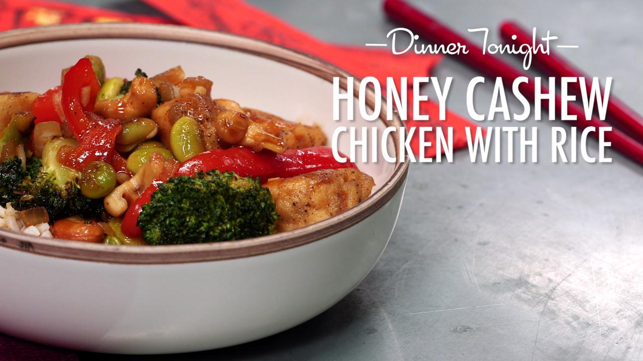 How to Make Honey Cashew Chicken with Rice