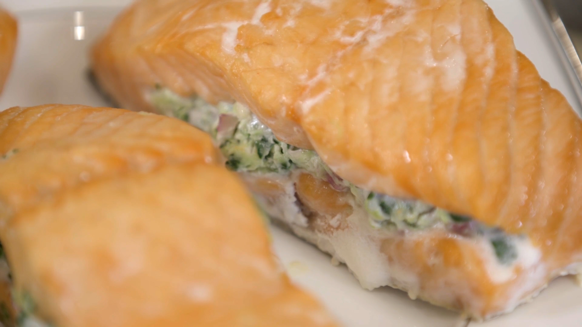 Rush Hour Recipes: Salmon with Spinach Feta Stuffing