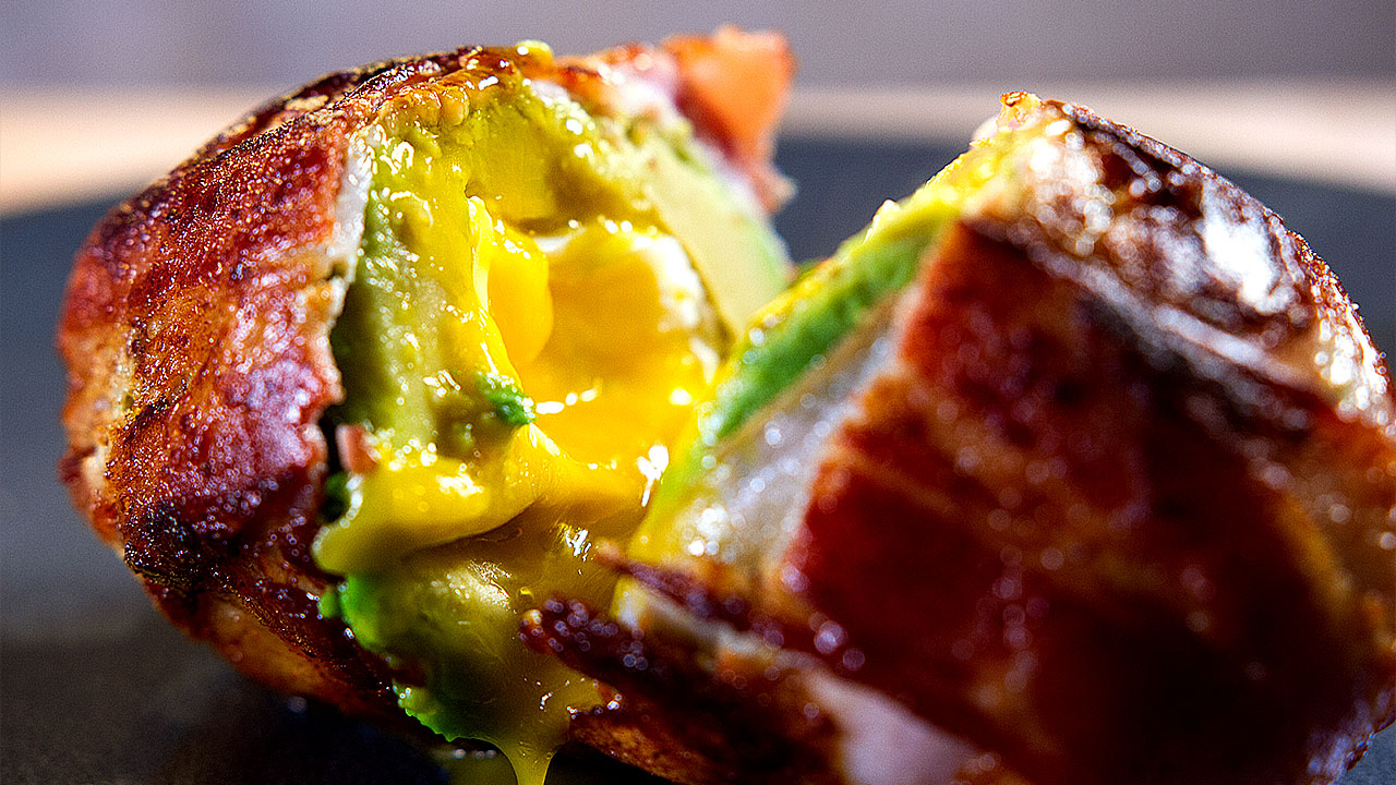 Bacon Wrapped Egg & Avocado Surprise, 3 Layers of Flavor!