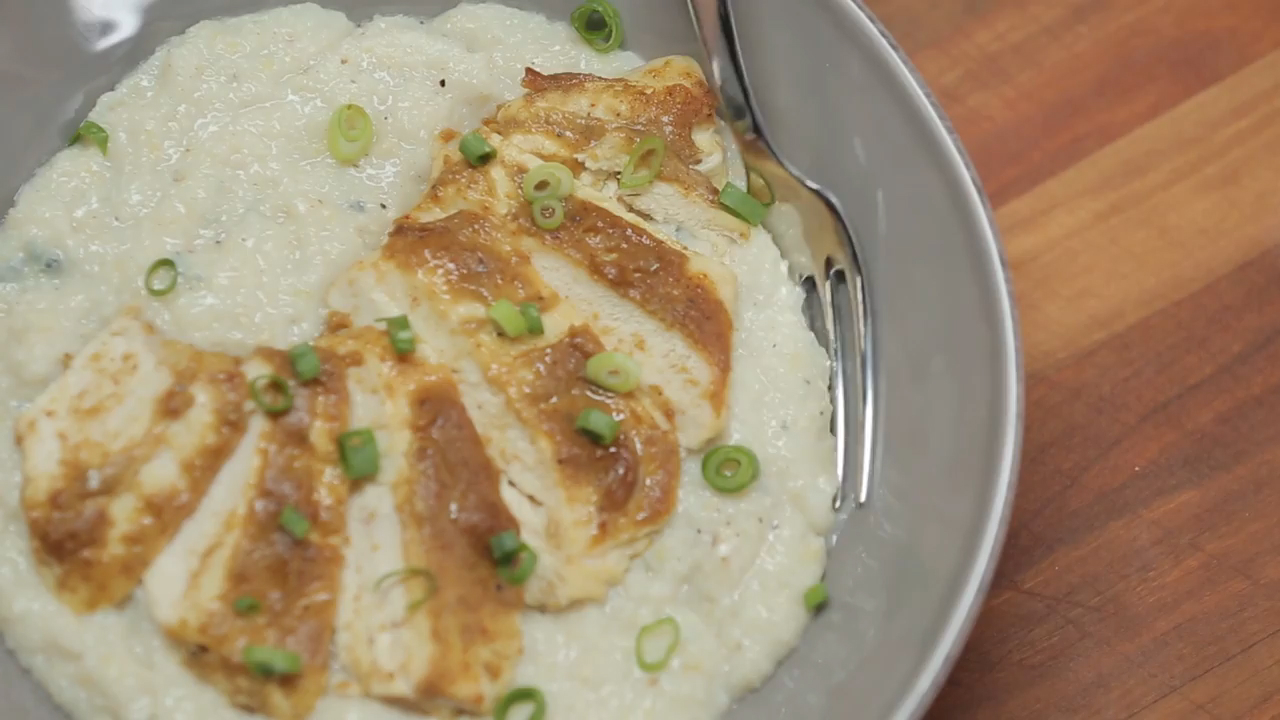 How to Make Spicy Apple-Glazed Chick 'N' Grits Gorgonzola
