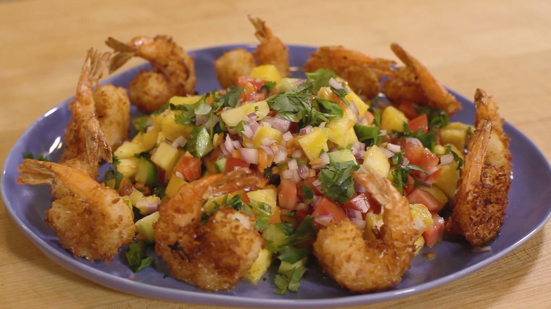 Crispy Coconut Shrimp with Habanero Mango Salsa