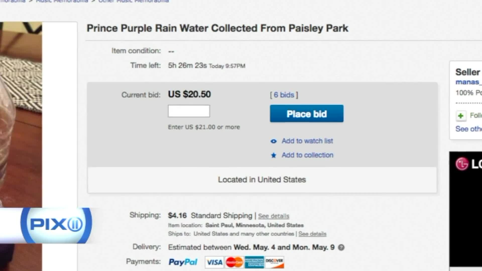 Rain Water From The Day Prince Died Being Sold On Ebay