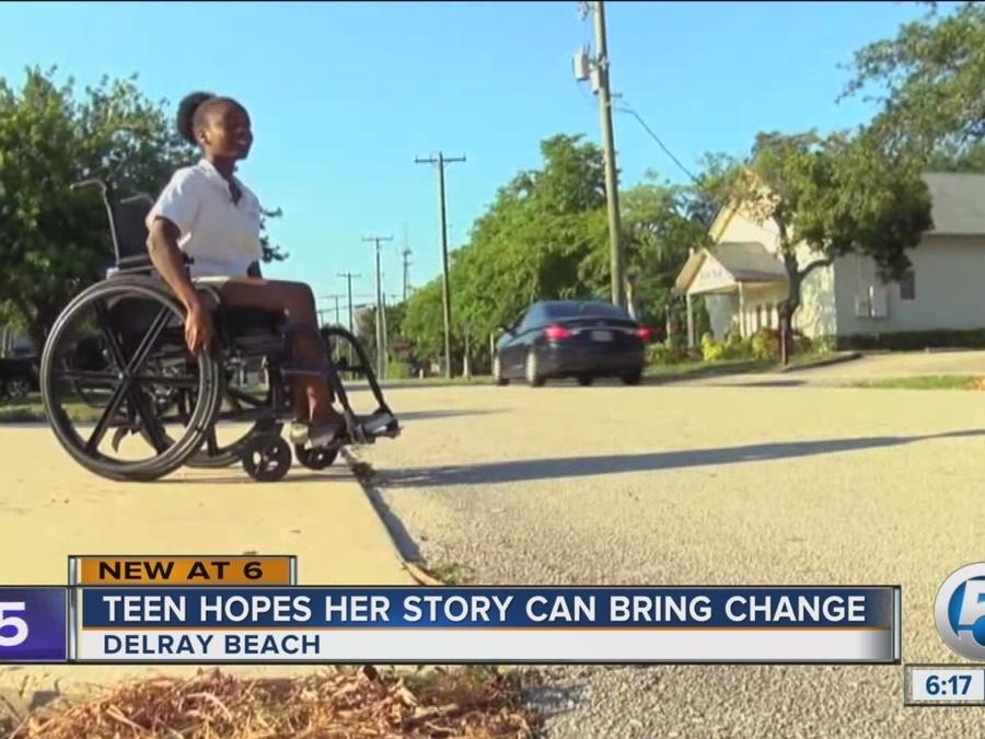 Wheelchair-bound teenager raising awareness about Delray Beach's discontinuous sidewalks