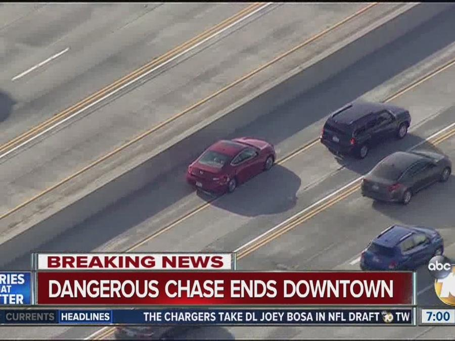 High-speed pursuit on San Diego freeways ends downtown