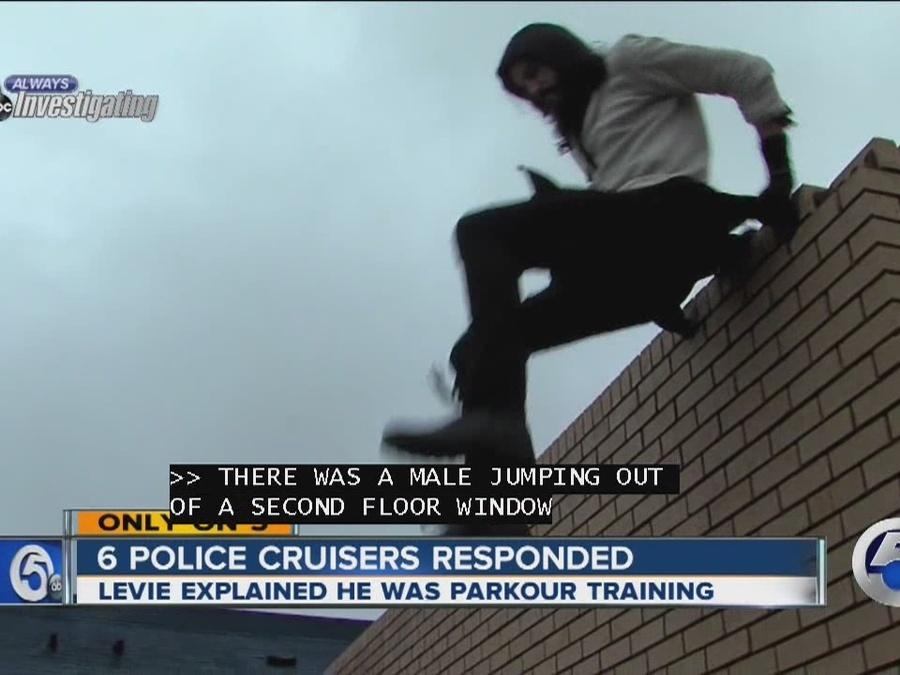 South Euclid police stop wall climbing parkour athlete