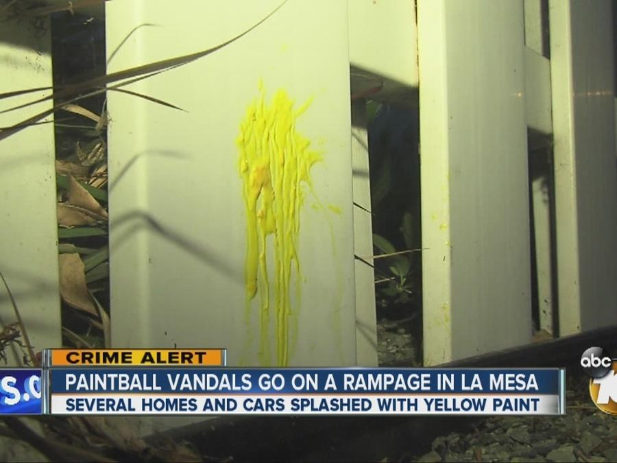 Paintball vandals gon on a rampage in La Mesa