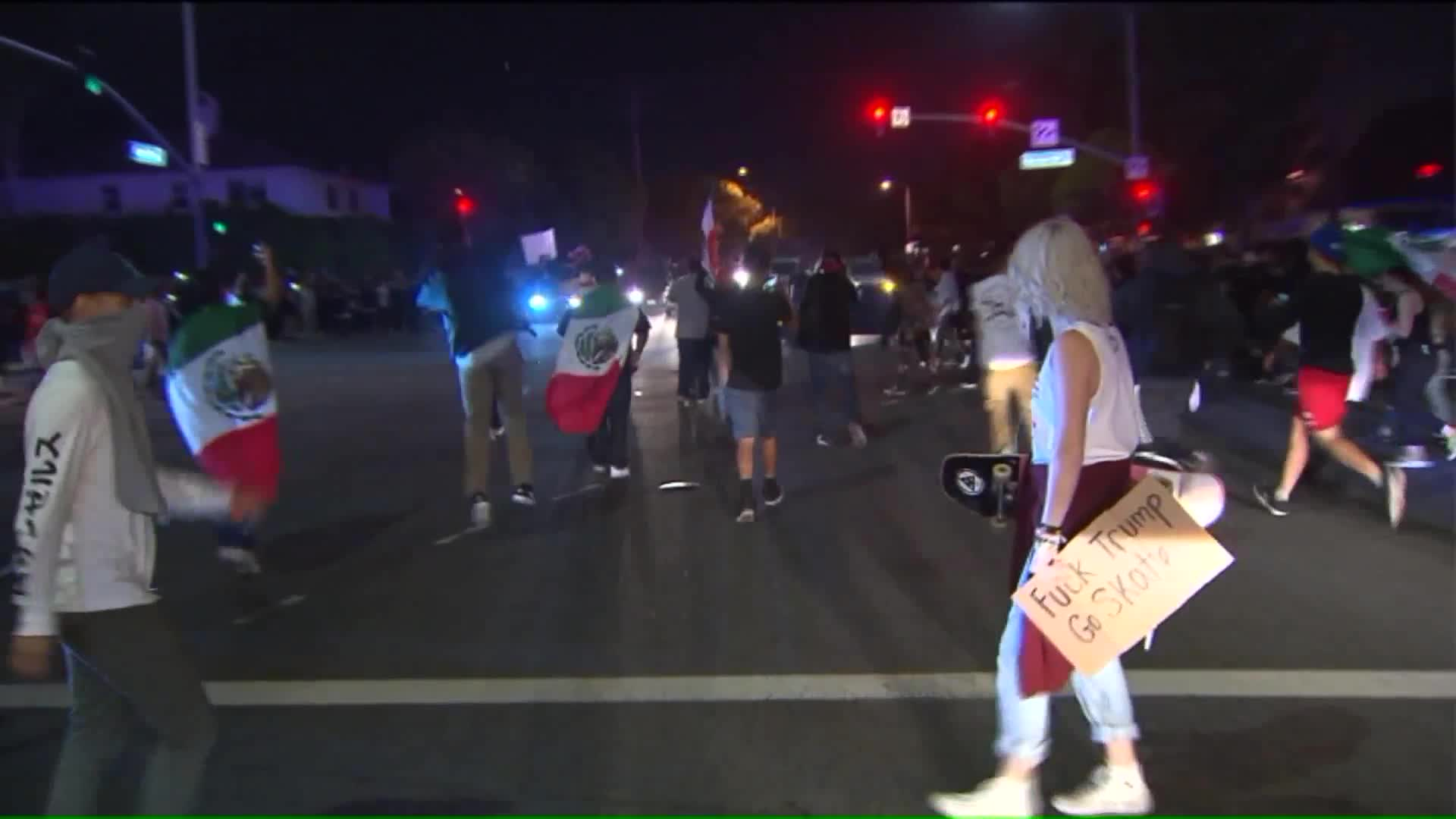 Violence Erupts Outside Trump Rally in Southern California