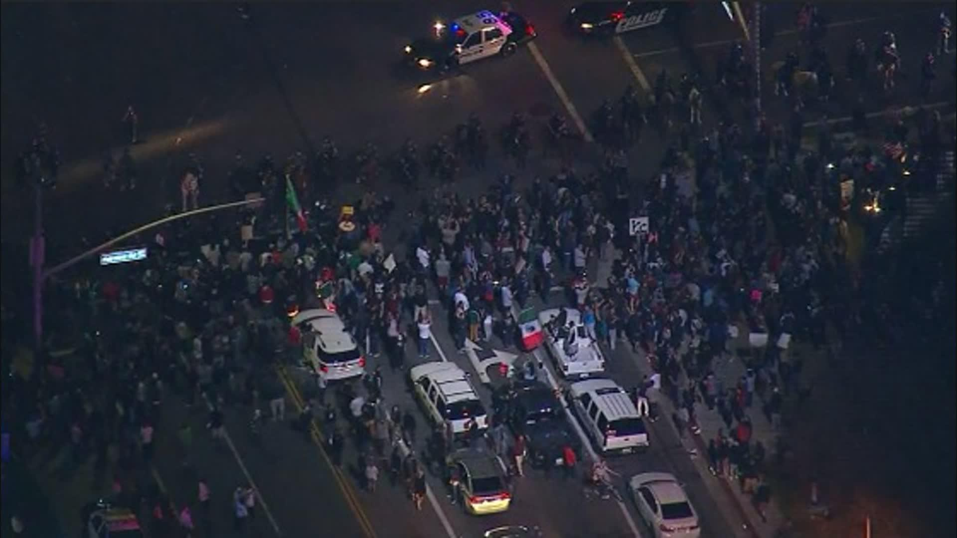 Raw: Protesters In Streets After CA Trump Rally