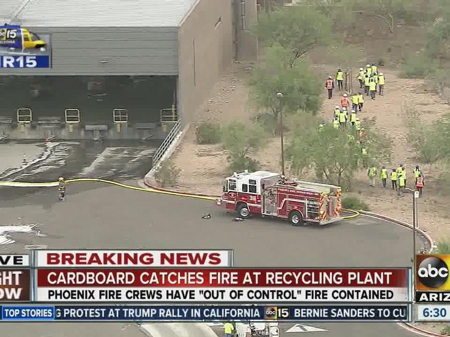 Crews battle fire at Phoenix recycling plant
