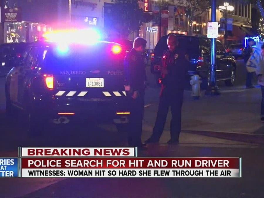 Driver plows into pedestrian in Gaslamp, flees