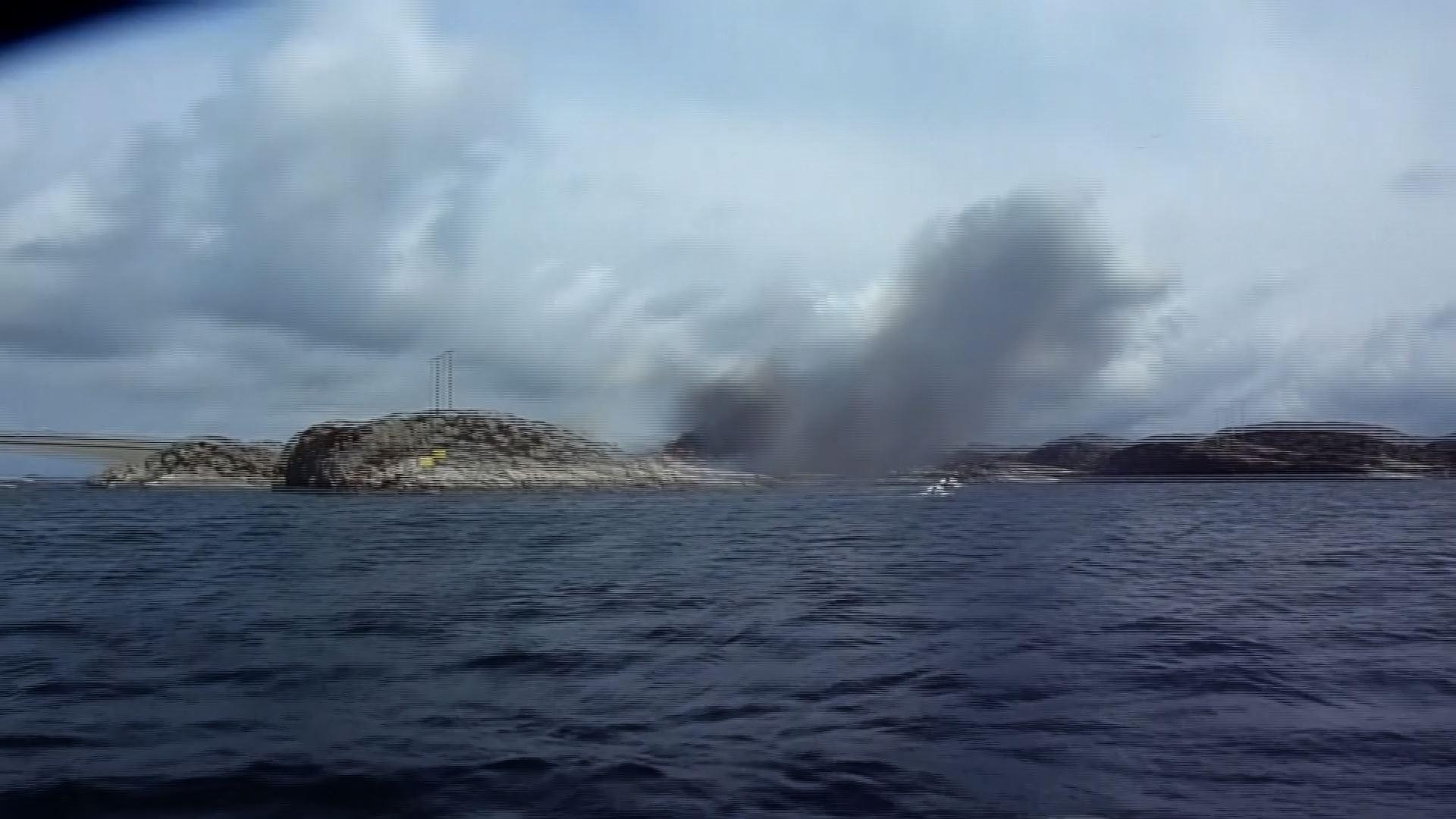 Raw: Smoke Rises From Norway Chopper Crash